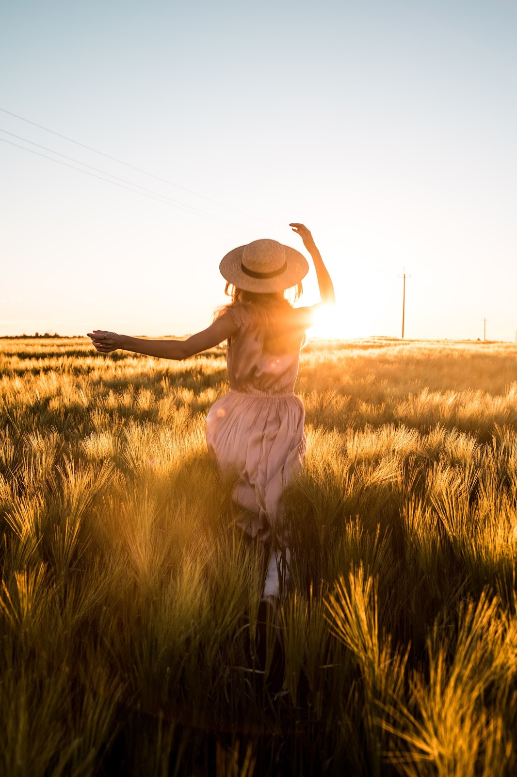 girl flower field sunset summer