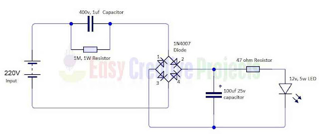 circuit diagram of run 12v 5w led on 220v