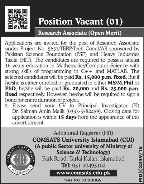 Jobs Vacancies In COMSATS University Islamabad 24 January 2019