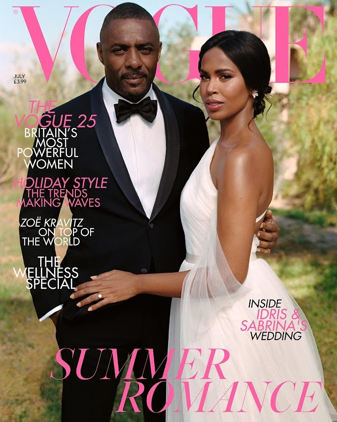 Newlyweds Idris Elba & Sabrina Dhowre Star On British Vogue's Special Bridal Cover For July