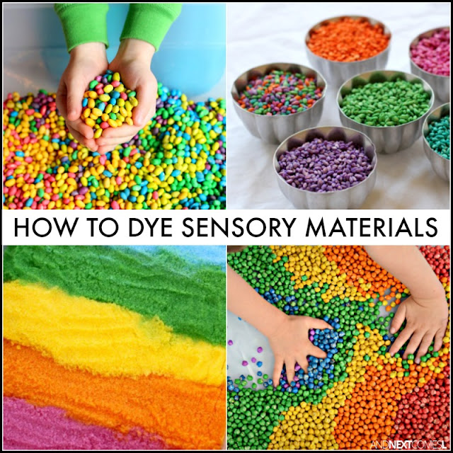 How to dye sensory bin fillers