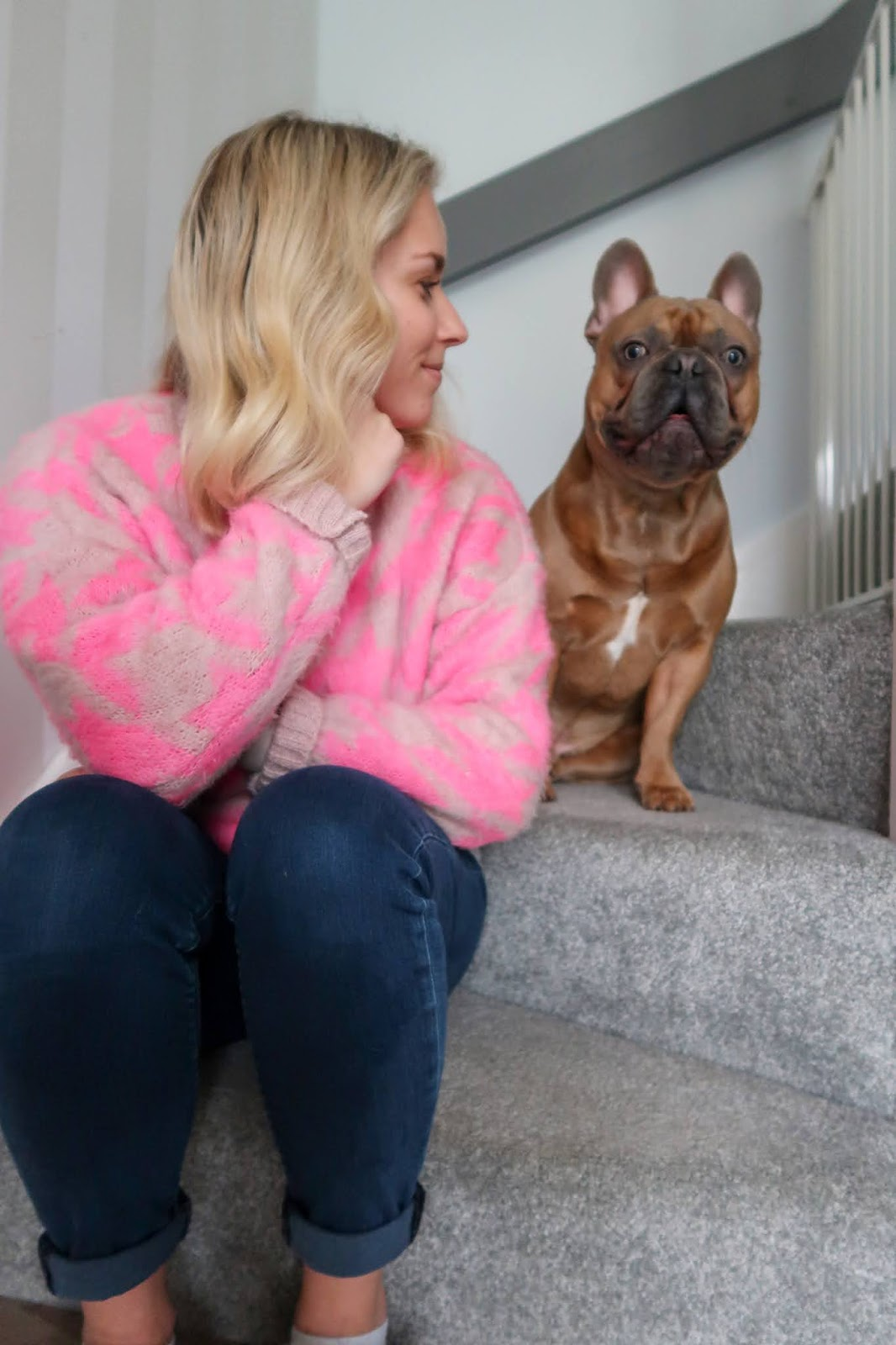 Rachel Emily at home with Ernie a French Bulldog