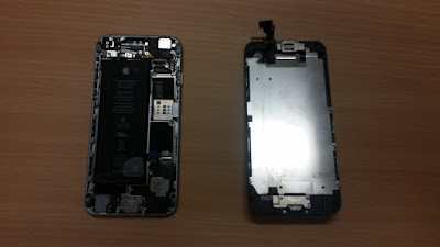 Image of customer's water damaged phone, once its dry.