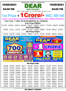 Nagaland Lottery Result Today 15/05/2021
