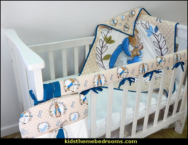 Traditional Peter Rabbit Nursery Cot Quilt Set 3 Piece Handmade Beatrix Potter - Blue - Quilt, Cot Crib Rail Cover, Nappy Stacker