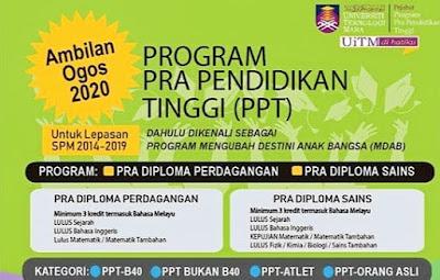 Permohonan PPT UITM 2020 Online (Program Pra Pendidikan Tinggi)