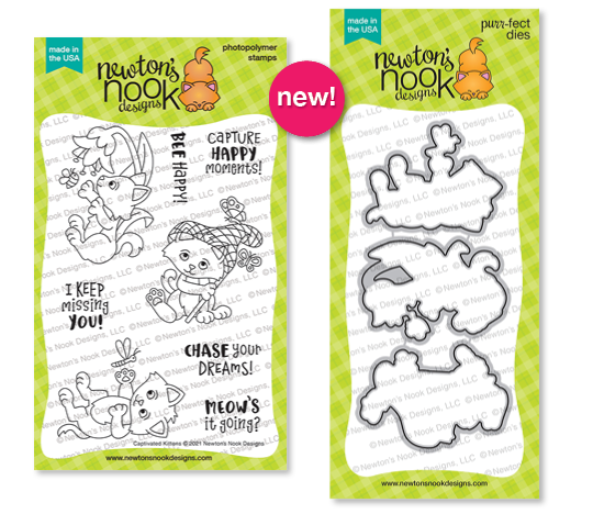 Captivated Kittens Stamp Set and Die Set by Newton's Nook Designs #newtonsnook