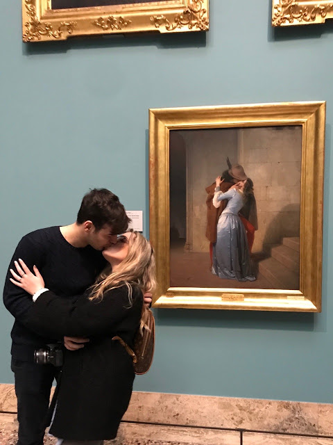 couple on a date in museum on valentines day