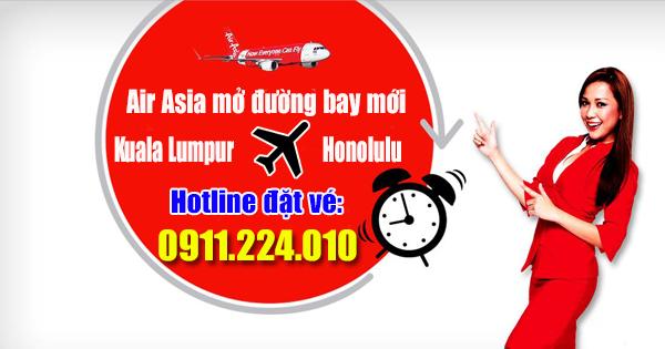 Đường bay mới Kuala Lumpur đi Honolulu của Air Asia