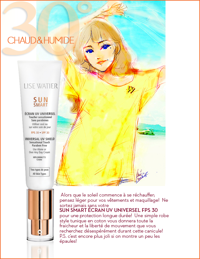 LiseWatier Sunsmart SunCream, Cosmetics products, fashion illustration, Summer girl in Yellow Tshirt at beach, drawing by Ben Liu