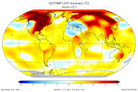 "Via NASA Climate Change's Facebook page: ""Two of the three top January temperature anomalies have been during the past two years."" (Credit: washingtonpost.com) Click to Enlarge."
