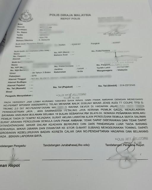 Salinan laporan polis nak tarik kereta Audi TT 2.0