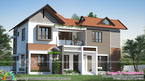 Front elevation rendering of modern home
