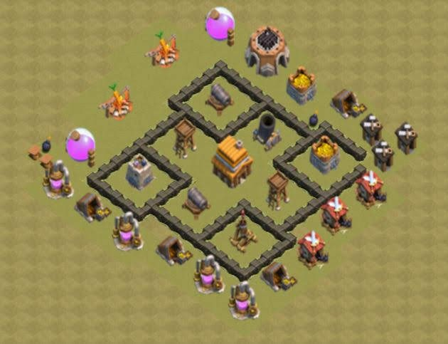 Base COC TH4 War 4
