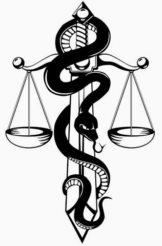 Snake with libra tattoo stencil