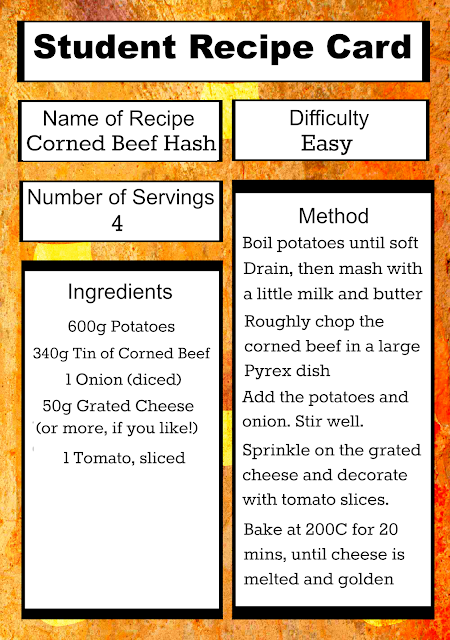 Easy, cheap Corned Beef Hash recipe card, perfect for students!