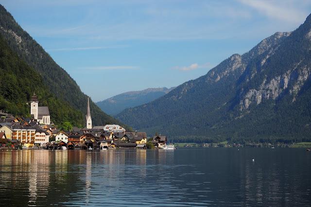 view of Hallstatt from across the lake