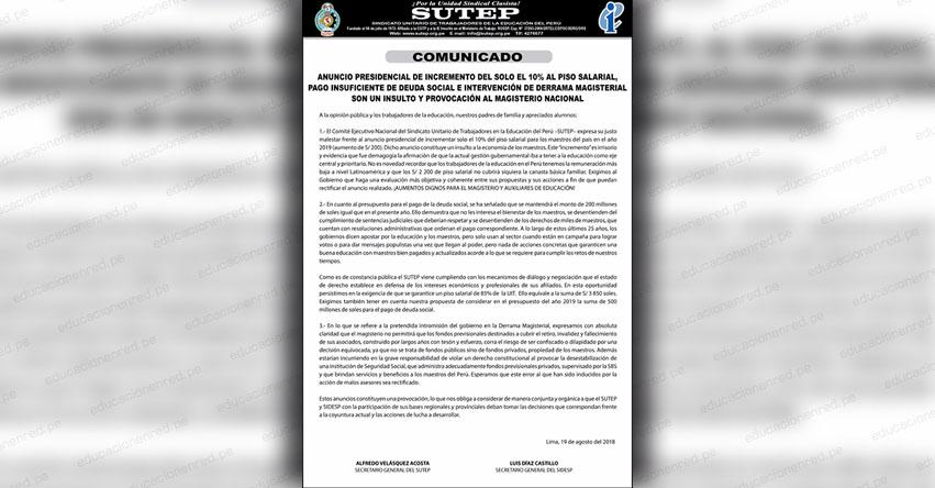 SUTEP: Comunicado a raíz de la VI Asamblea Nacional de Delegados 2018 - www.sutep.org
