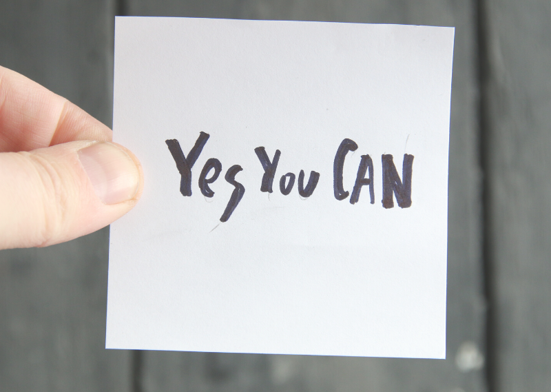 "Note saying ""Yes you can"" in a post about 8 simple things you can do to boost your confidence"