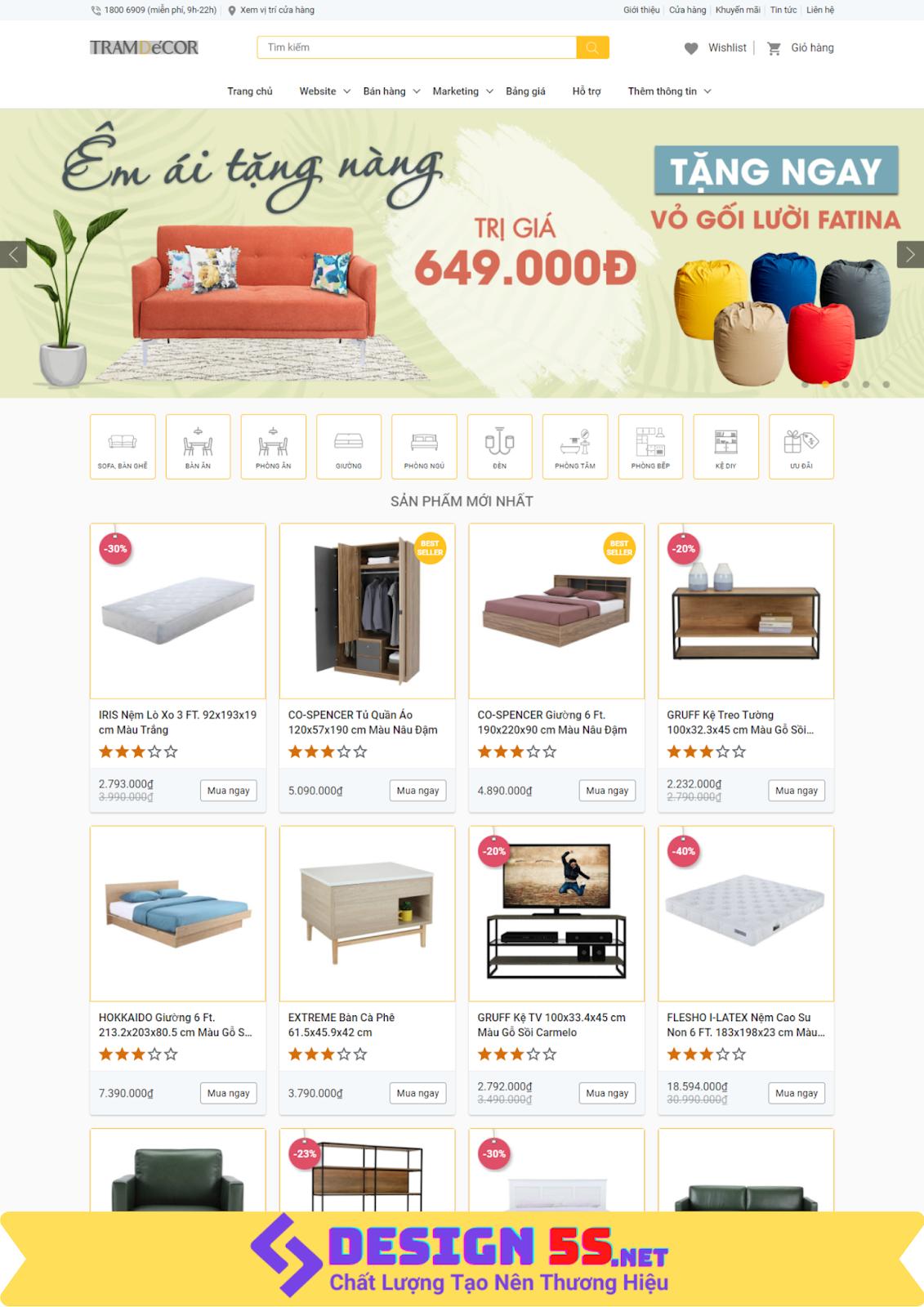 Template blogspot bán hàng nội thất đẹp chuẩn seo VSM13