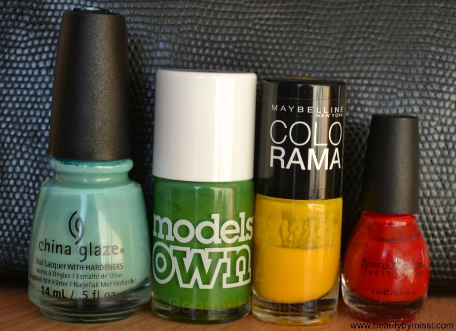 China Glaze For Audrey, Models Own Green Grass, Maybelline Colorama #749, SinFul Colors Gogo Girl,