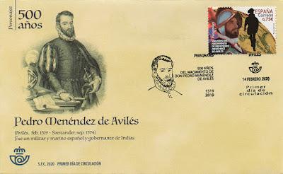 Sobre, PDC, sello, Pedro Menéndez de Avilés