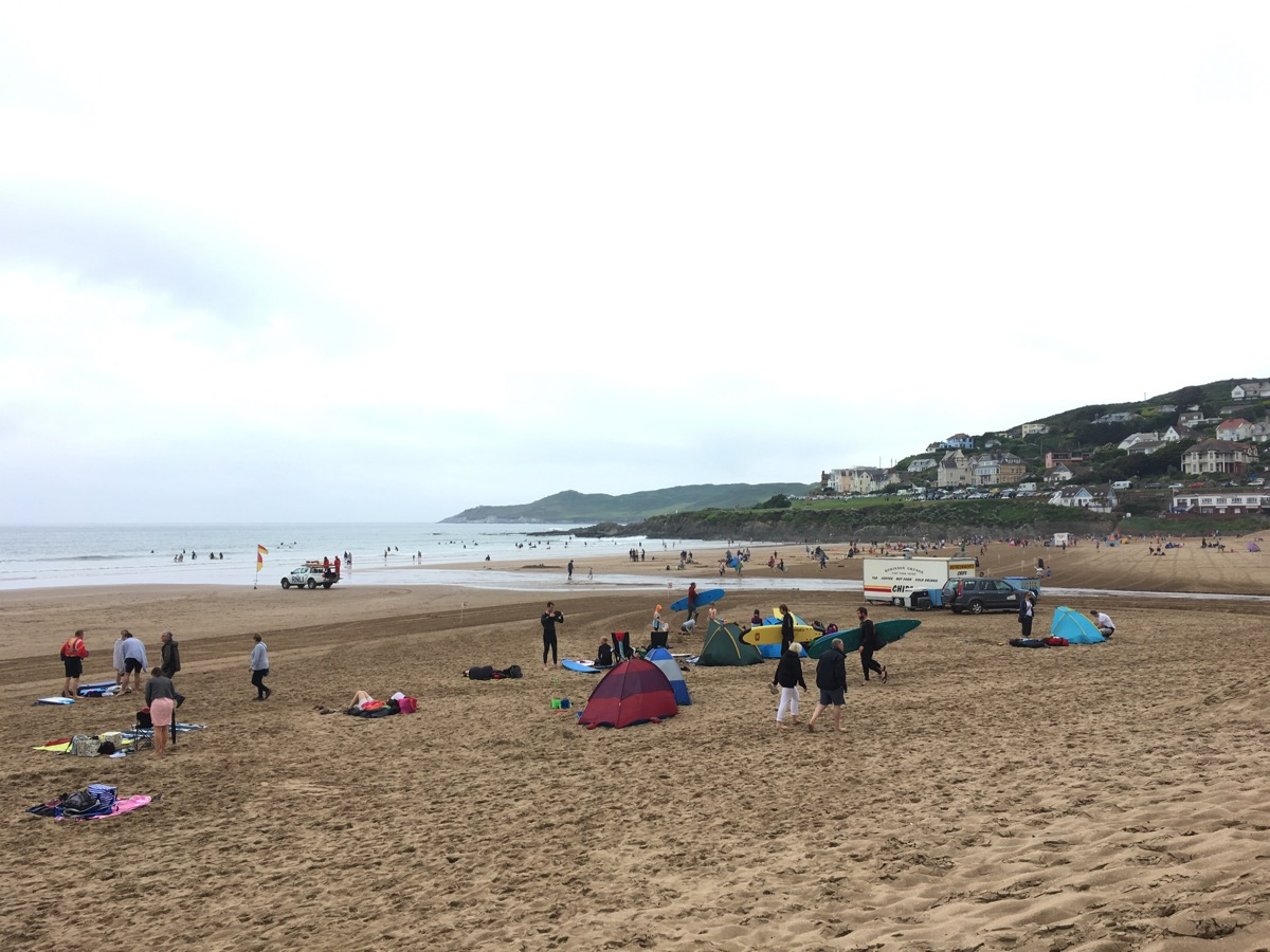 Woolacombe Beach and the surf lifesavers, Devon