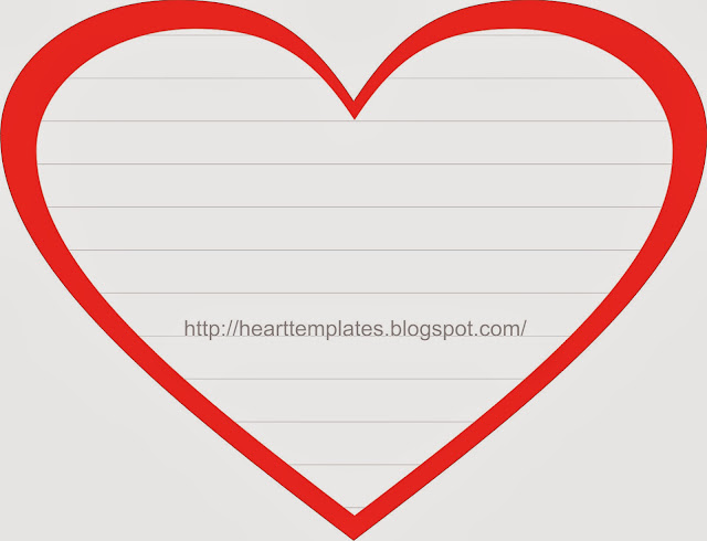Free Heart Template with Grey Lines Text Box for Writing Paper in