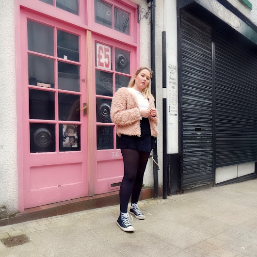 Girly Rocked Up | Pink Faux Shaggy Fur Coat + Black Skorts