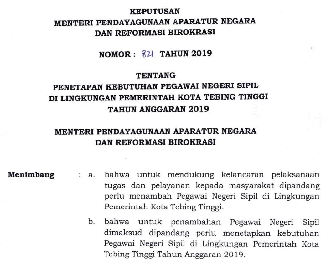 Formasi CPNS Kota Tebing Tinggi Provinsi Sumatera Utara Tahun 2019