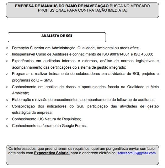 ANALISTA DE SGI