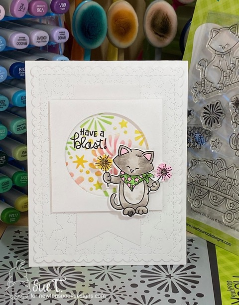 Have a blast by Sue features Newton's 4th of July,  Fireworks, and Fancy Edges Tag by Newton's Nook Designs; #inkypaws, #newtonsnook, #4thofjulycards, #cardmaking, #catcards