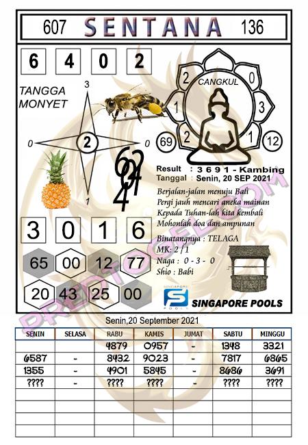 Syair Sentana Singapura Senin 20-September-2021