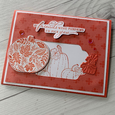Cover of a handmade Fall-themed greeting card using Stampin' Up! Pretty Pumpkins Stamp Set