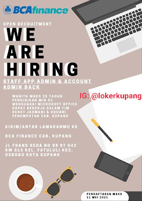 Lowongan Kerja BCA Finance Sebagai Staff App Admin & Account Admin Back