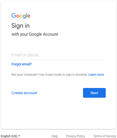 Current Google log in box
