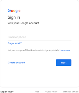 Current Google sign-in screen with left-aligned text