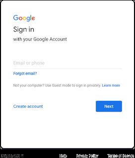 Tela de login antiga do Google com texto alinhado à esquerda