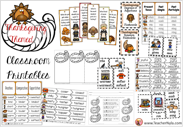Thanksgiving themed ELA Classroom Printables and Worksheets