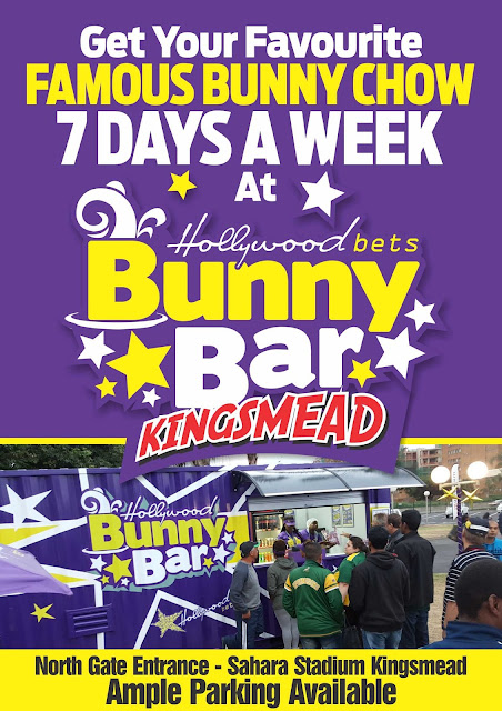 Get your favourite famous bunny chow 7 days a week at Hollywood Bunny Bar at Kingsmead