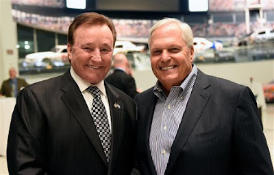Richard Childress (left) and Rick Hendrick pose for a photo prior to the NASCAR Hall of Fame Class of 2017 Welcome Dinner.