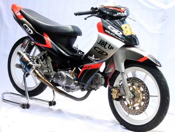 Modifikasi motor yamaha jupiter mx 135 cc thailook airbrush ban lebar