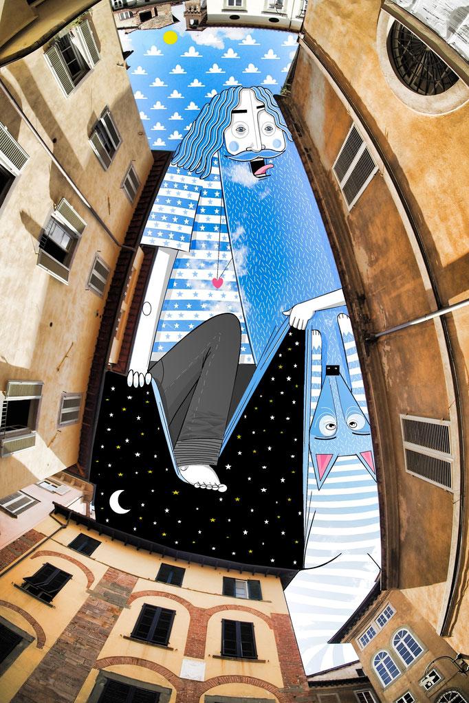 Mit seinen Illustrationen verzaubert der gebürtige Franzose Thomas Lamadieu den Blick nach oben. Er nennt seine frechen Kreaturen SkyArt und zaubert mit seinem Kunstprojekt ein Lächeln in unser Gesicht. Kunst aus dem Himmel geschaffen, gerahmt und vorgegeben durch Gebäude und Felsformationen.