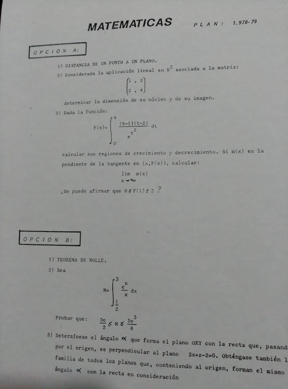 Selectividade Matemáticas 78/79
