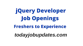 jQuery Developer Openings for Freshers to Experience|12th Aug 2020