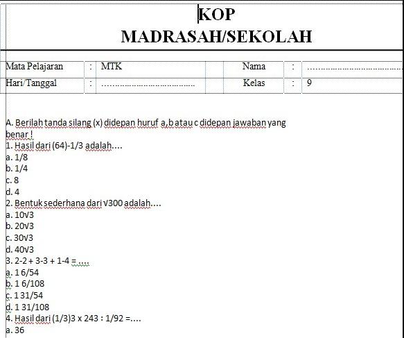 Soal UTS PTS Matematika Kelas 9 Semester 1 Kurikulum 2013 Beserta Jawabannya