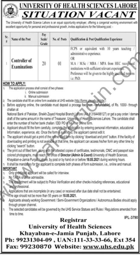 University of Health Sciences Lahore Jobs 2021 in Pakistan - UHS Lahore Jobs 2021
