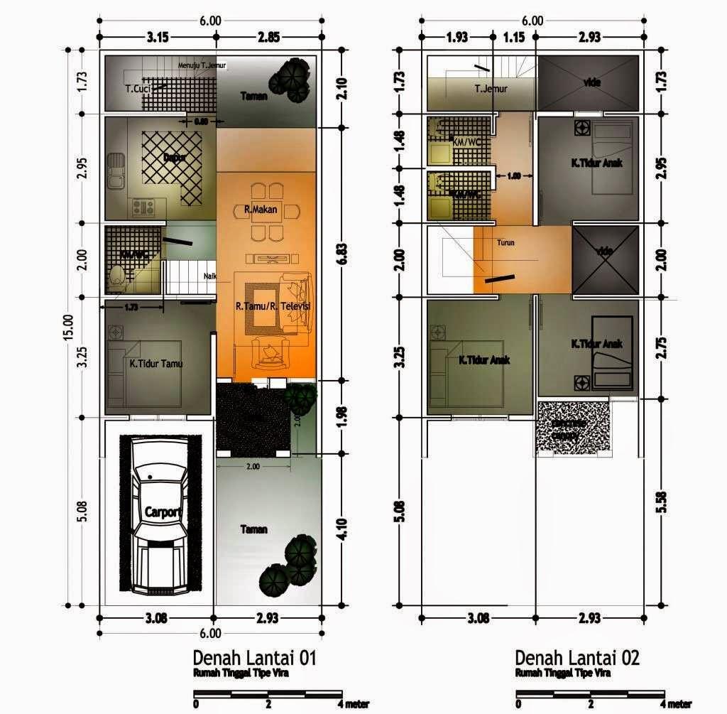 Denah Rumah Minimalis 2 Lantai Luas Tanah 60m2 Desain