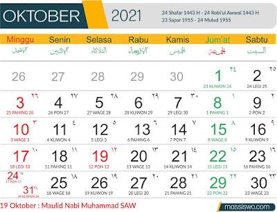 Template Kalender 2021 Oktober