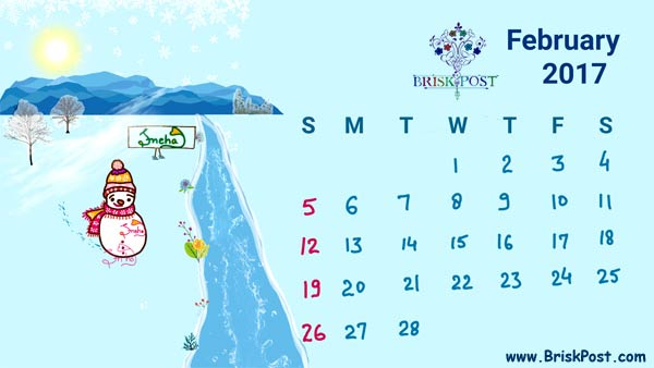 February 2017 Calendar with late winter season illustration